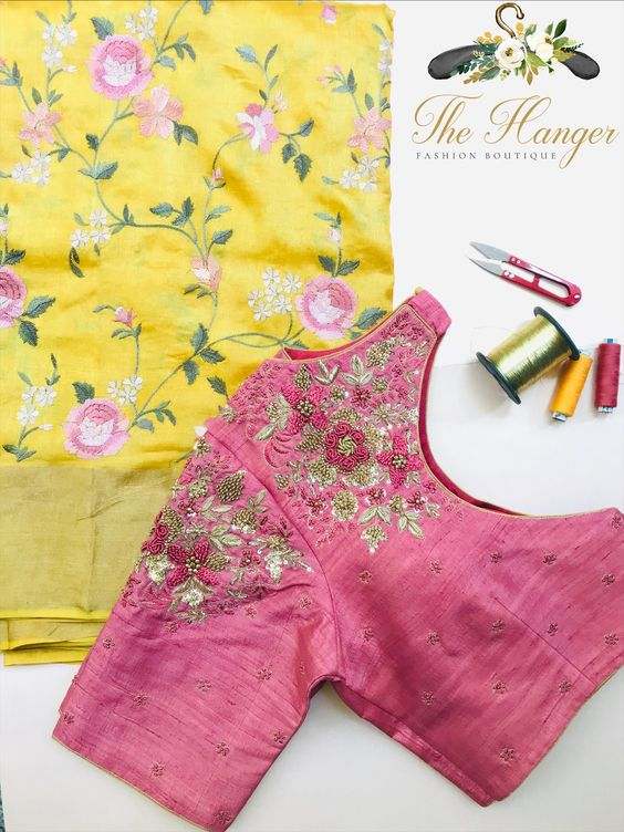 rose beautiful embroidery work blouse