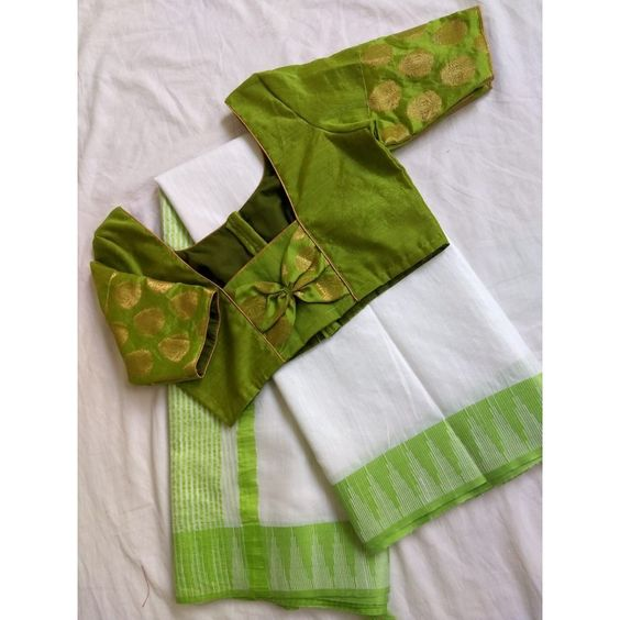 green blouse with back bow design