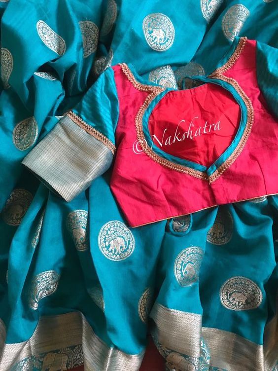 blue red combo blouse design