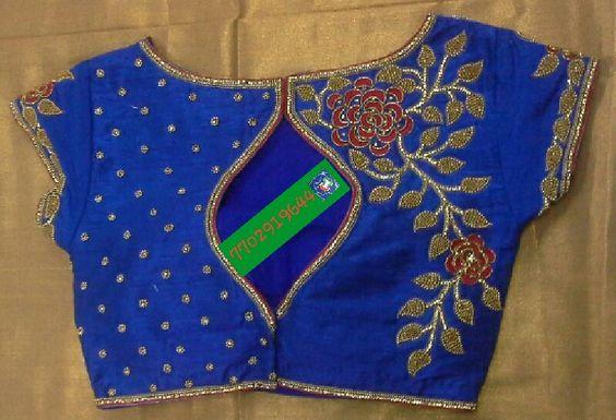 heavy work blue blouse design