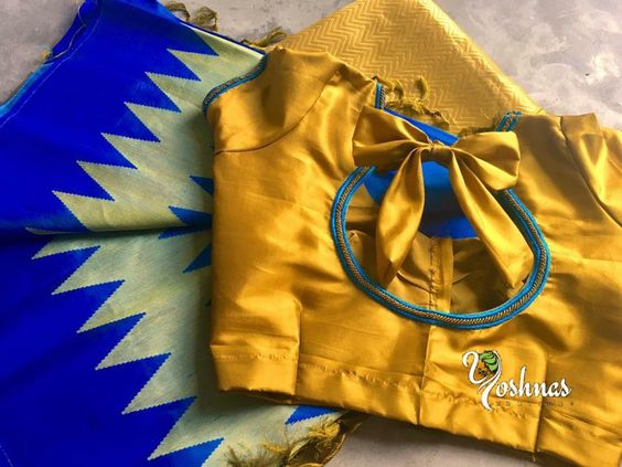 golden blouse with back bow