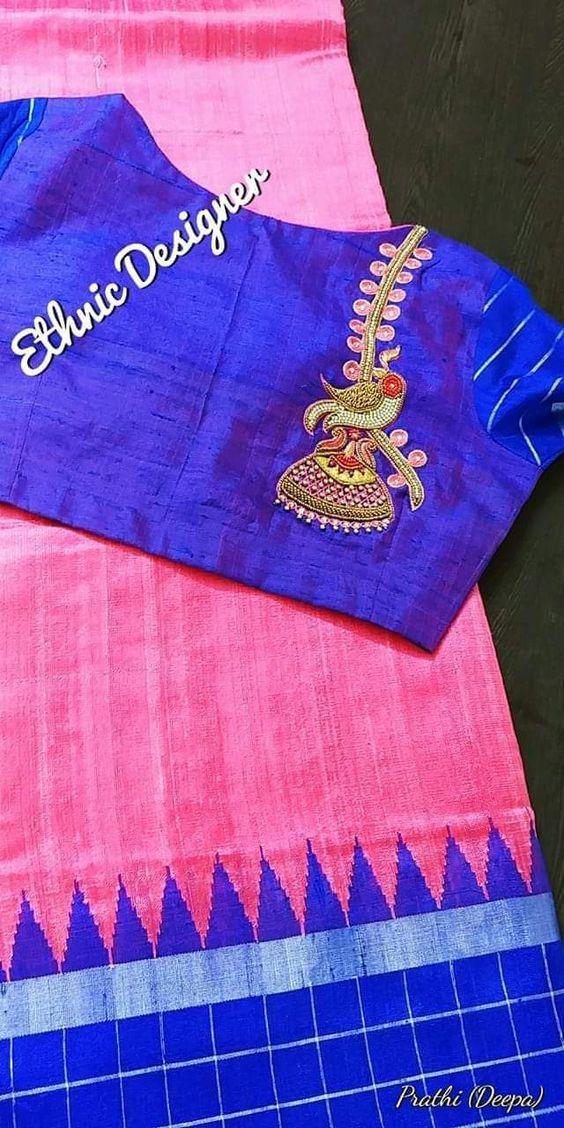 blue ethenic designer blouse