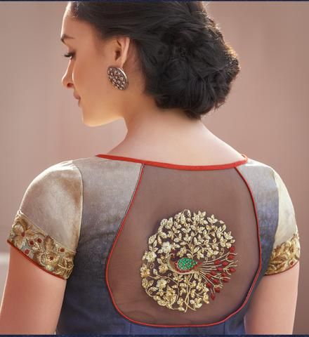 blouse back with net and embroidery