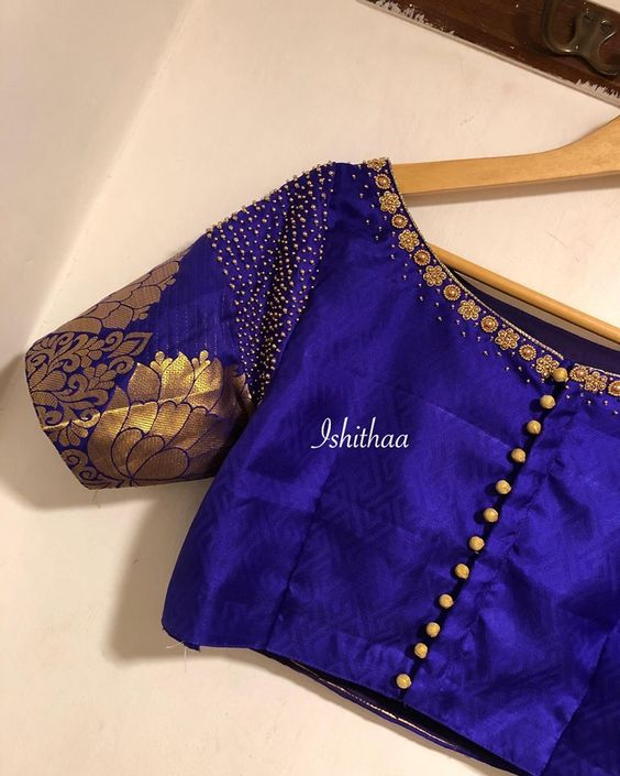 blue color designer blouse
