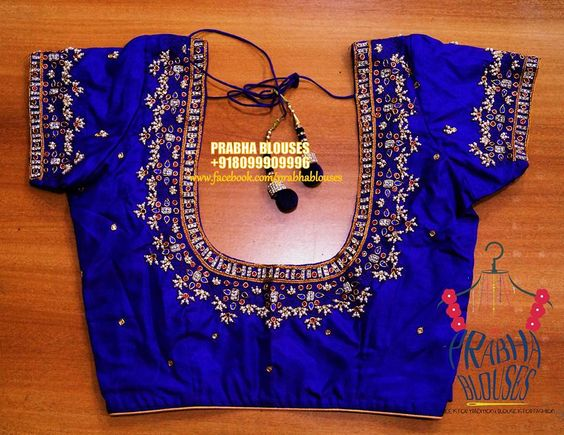 beautiful blue color designer blouse