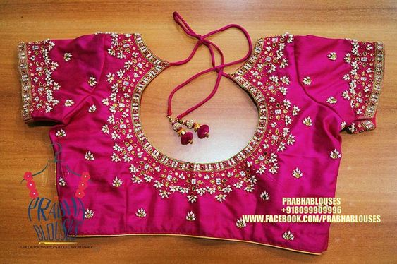 pink blouse with back neck design