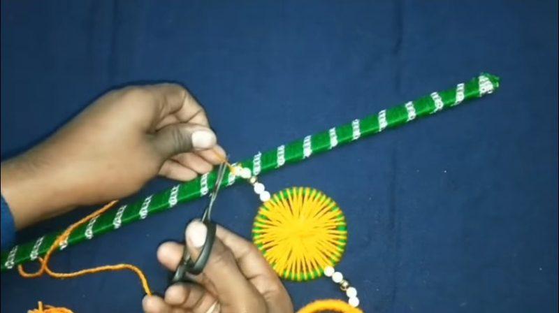 Very easy bangels and woolen wall hanging toran 19