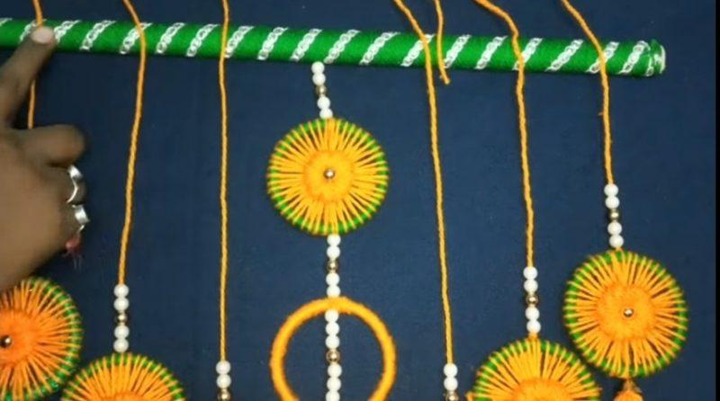 Very easy bangels and woolen wall hanging toran 20