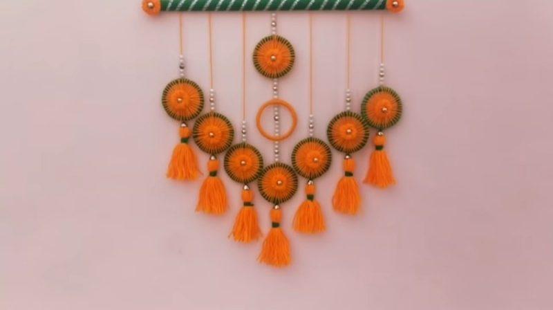 Very easy bangels and woolen wall hanging toran 21