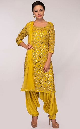 yellow panjabi salwar kameez