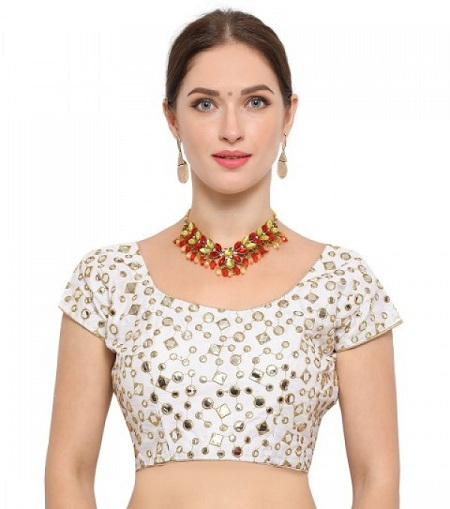white color with mirror work blouse