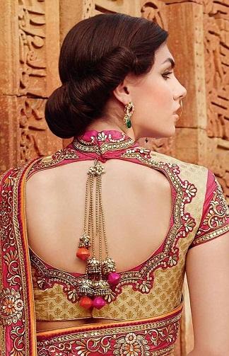 designer blouse neck with back attachment