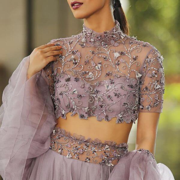 front net blouse designs for saree and lehenga 7