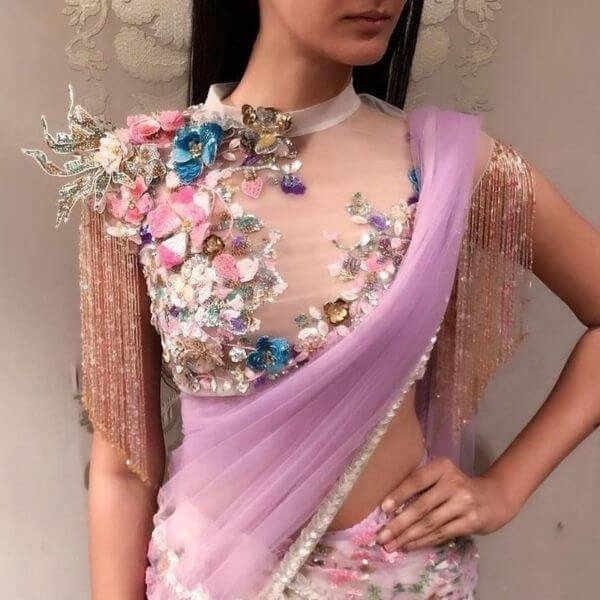 front net blouse designs for saree and lehenga 8