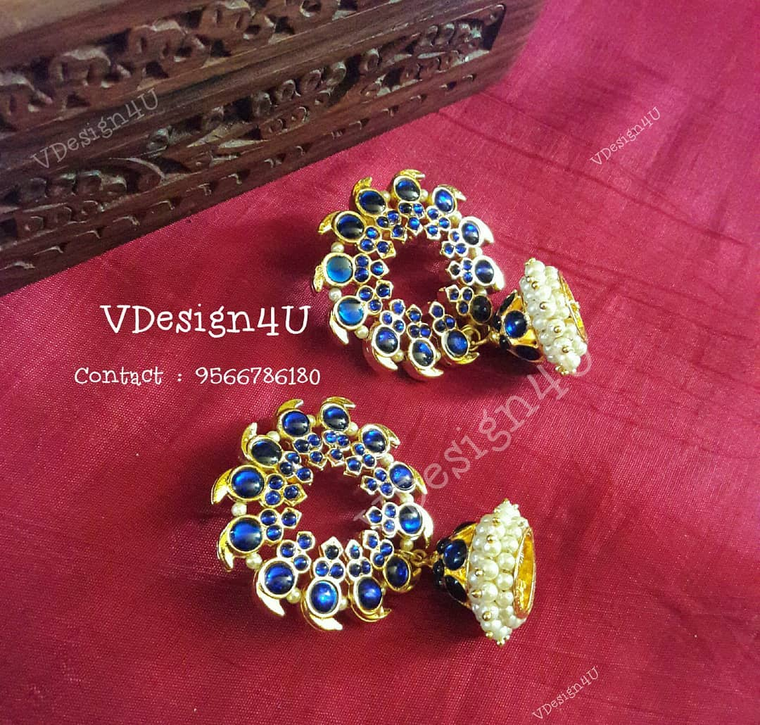 jhumka with blue glass stone