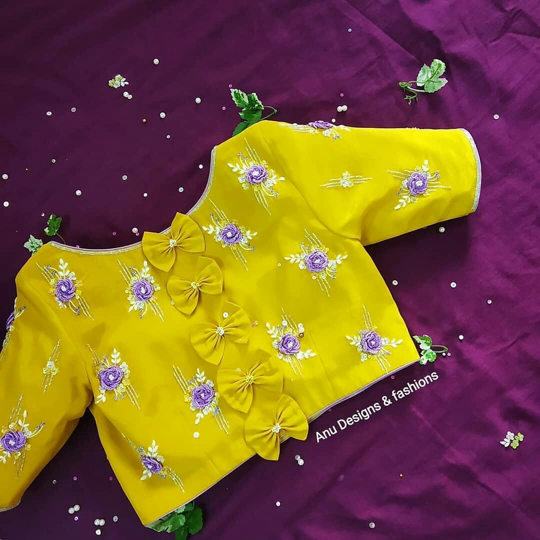 beautiful floral yellow blouse with butterfly bows