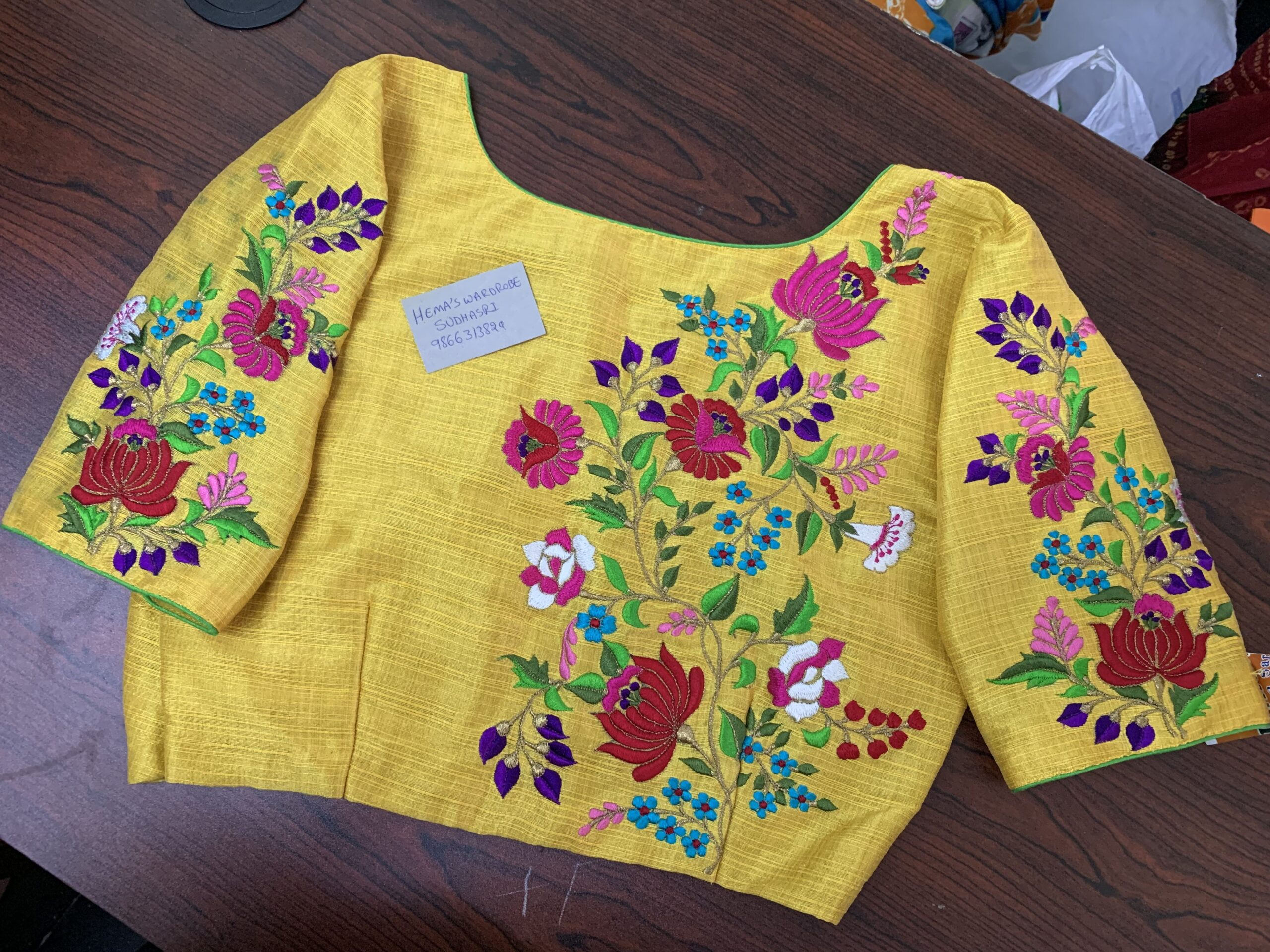 yellow floral embroidery design blouse