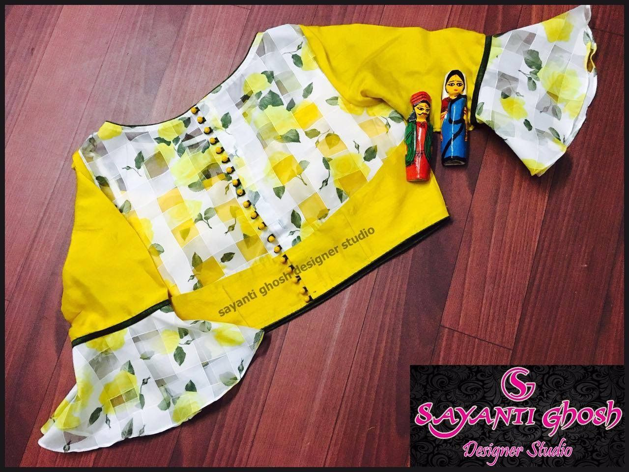 beautiful yellow blouse with bell sleeve