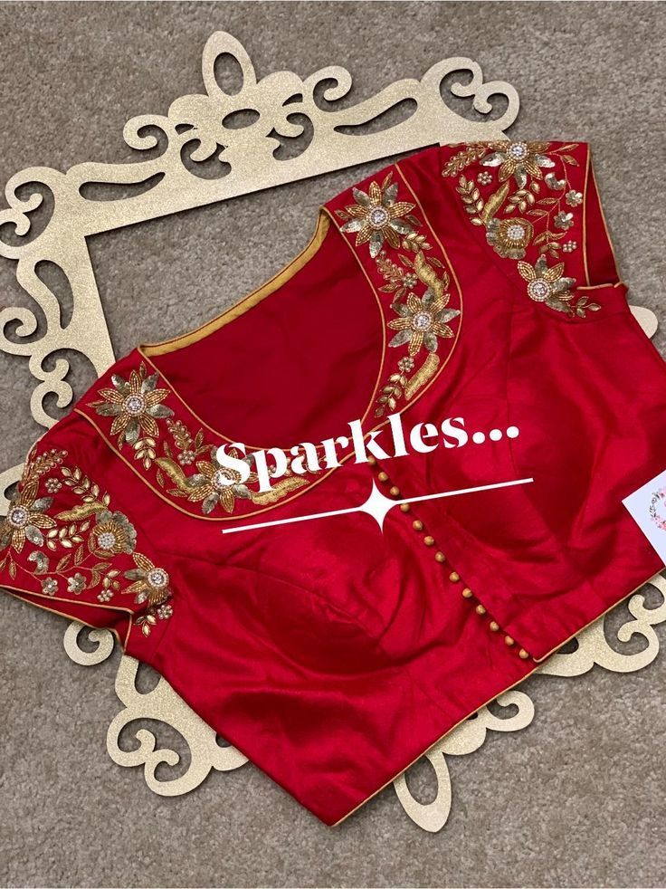 beautiful red blouse design