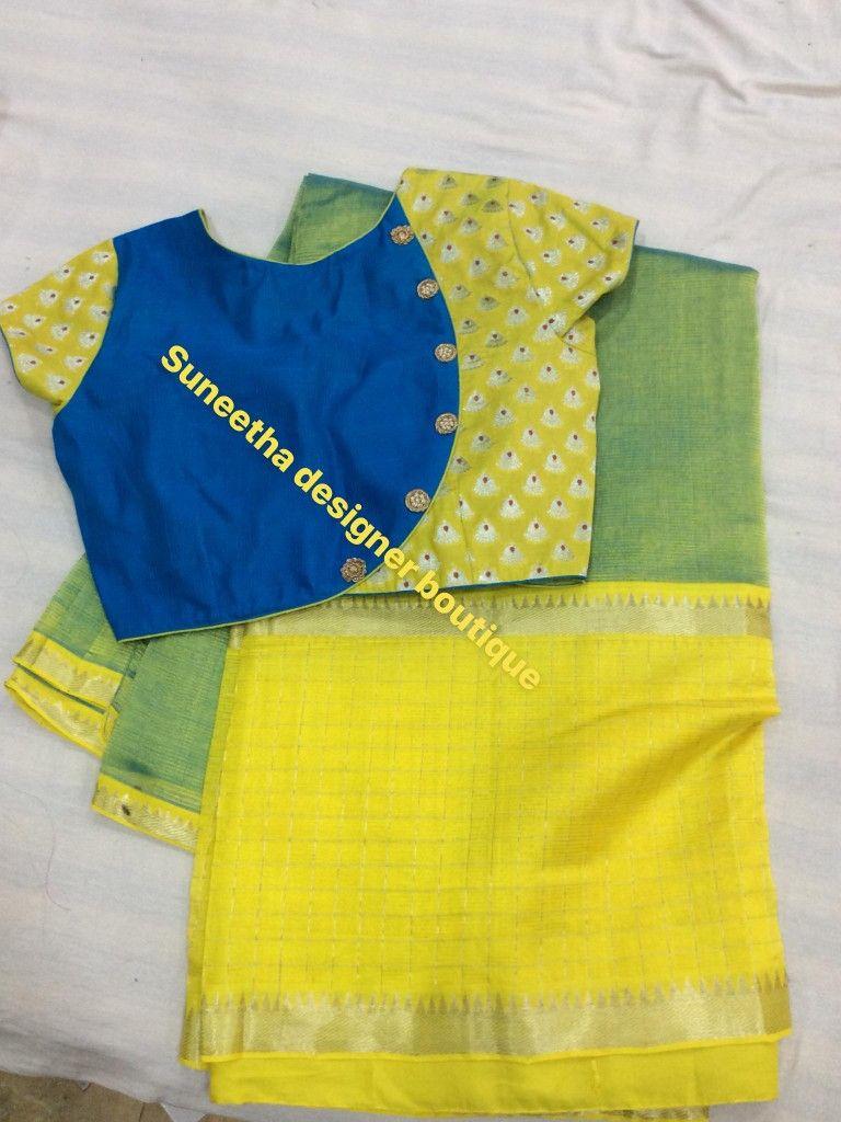 yellow blue combo blouse design
