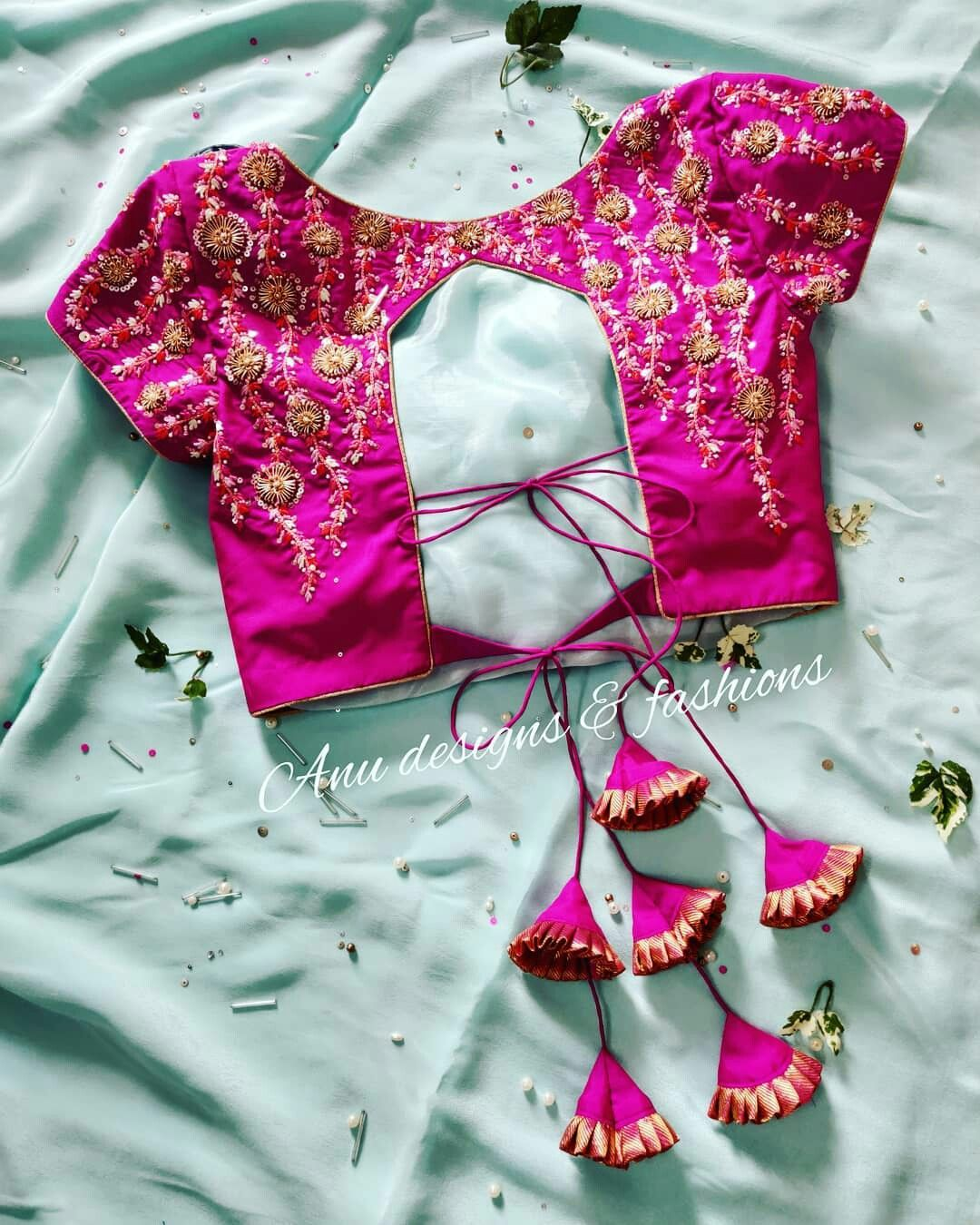 pink beautiful worked design blouse
