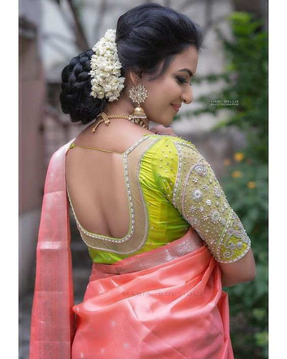 green blouse with deep back neck