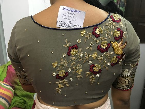 embroidery worked ash blouse design