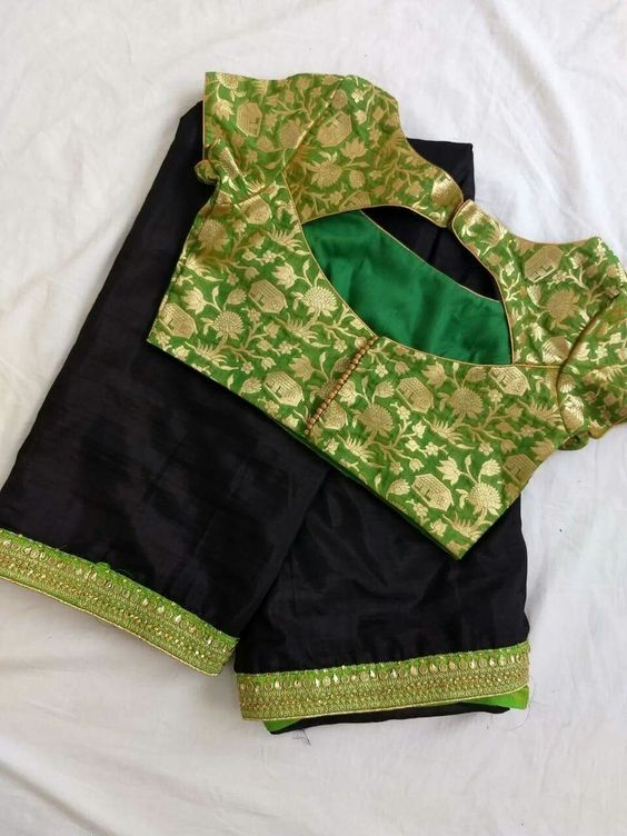 green silk blouse with variety back cutting