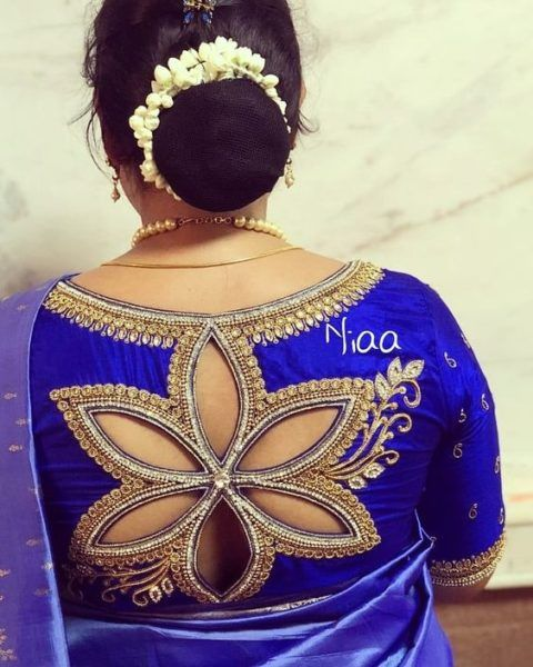 blue blouse with back cut-work
