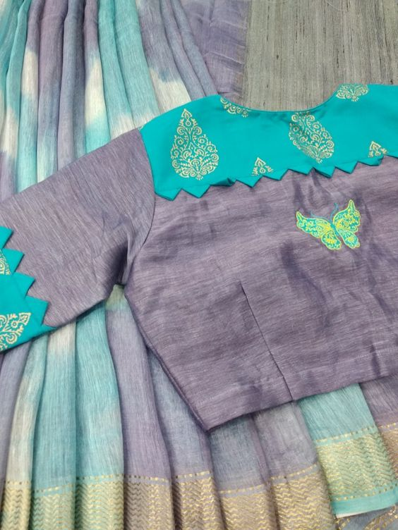 boat neck with blue ash combo blouse design