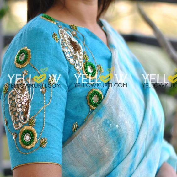 sky blue blouse design