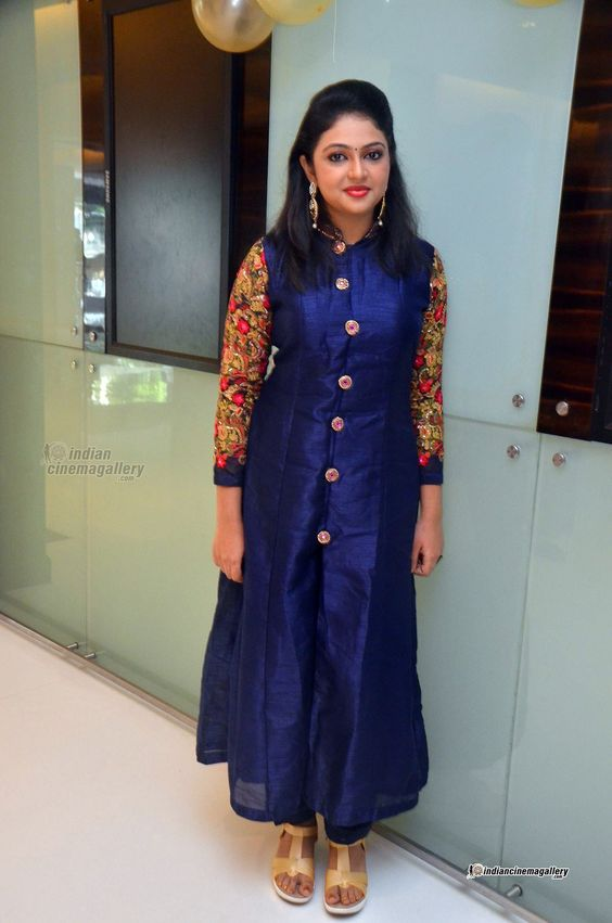 blue kurti with heavy sleeve work design