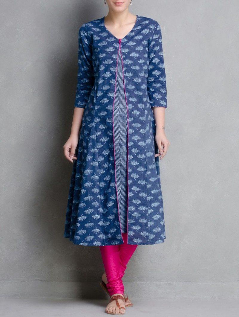 simple and stylish blue kurti design