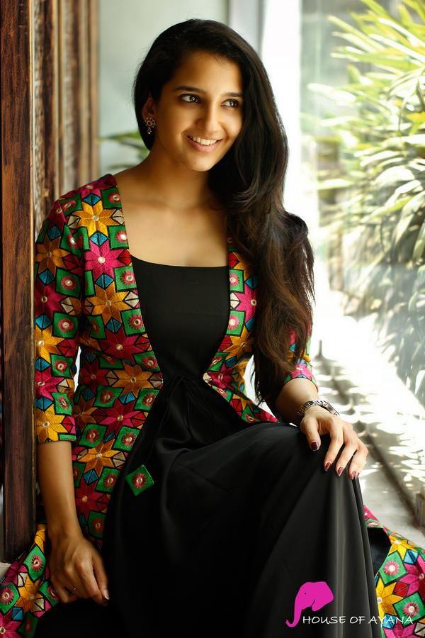 black kurti with multi color long jacket