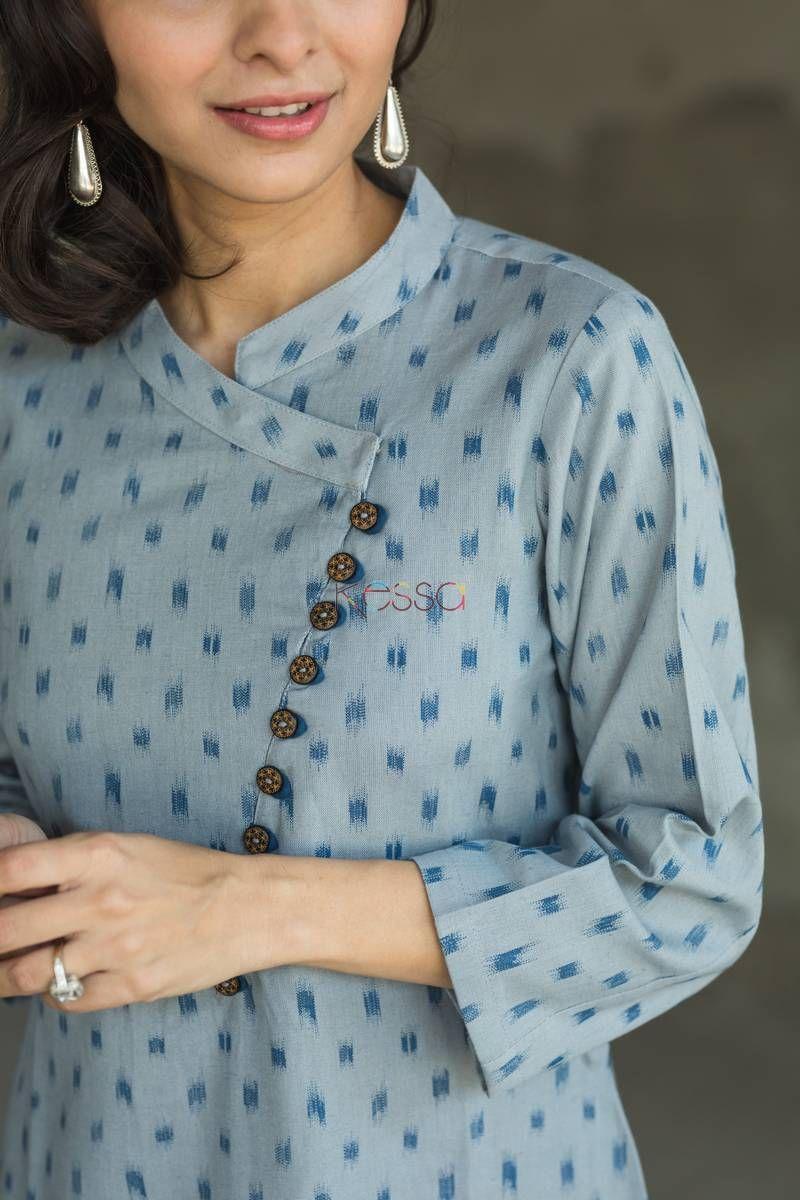 high neck collar kurti design