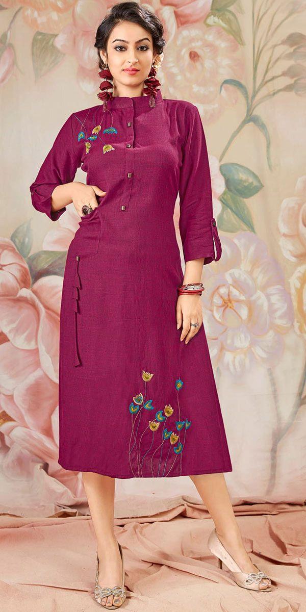 high collar fashionable designer kurti