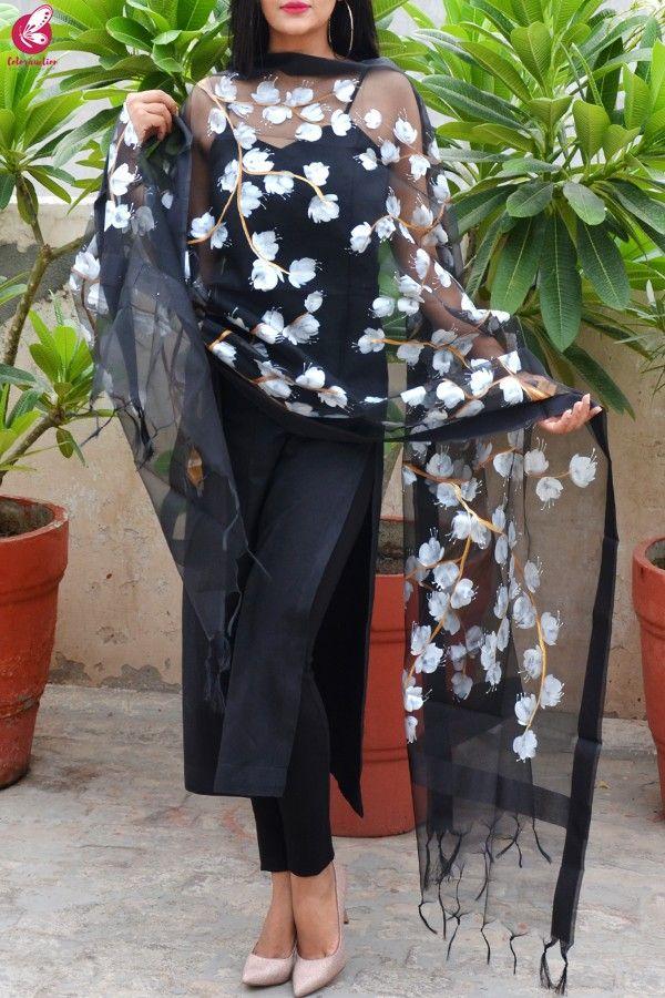 black sleeveless kurti design