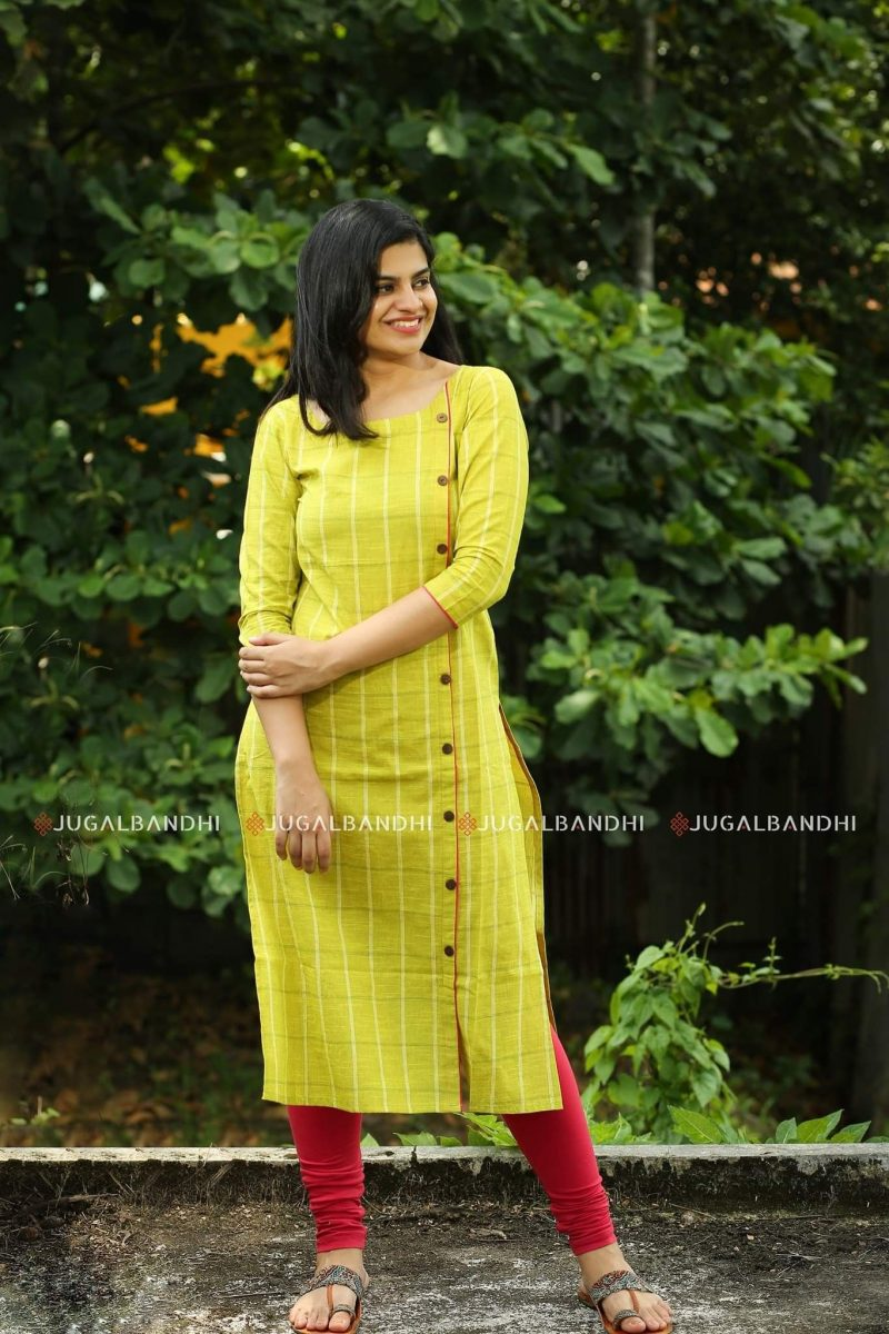 yellow kurti with front buttons