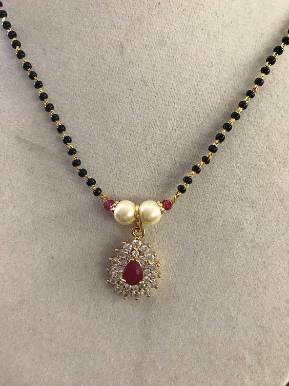 Elegant Black Beads Chain for Magalsuthra2