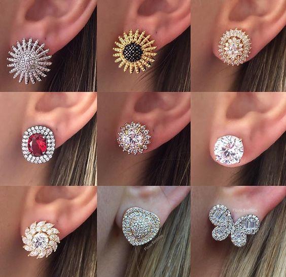 white stone Earrings design