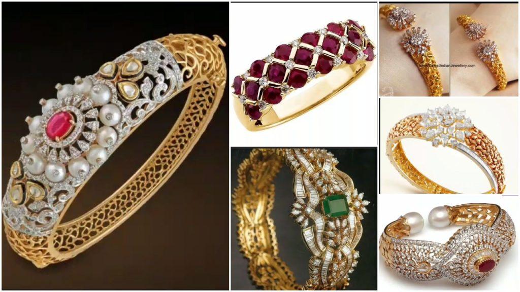 Gold Stone Bridal Bangle Designs