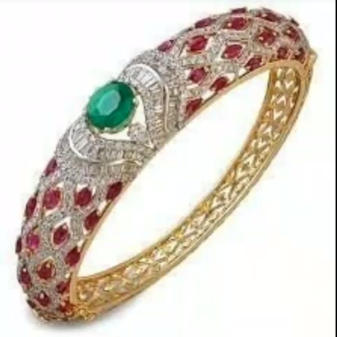 Gold Stone Bridal Bangle Designs14