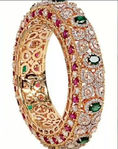 Gold Stone Bridal Bangle Designs15