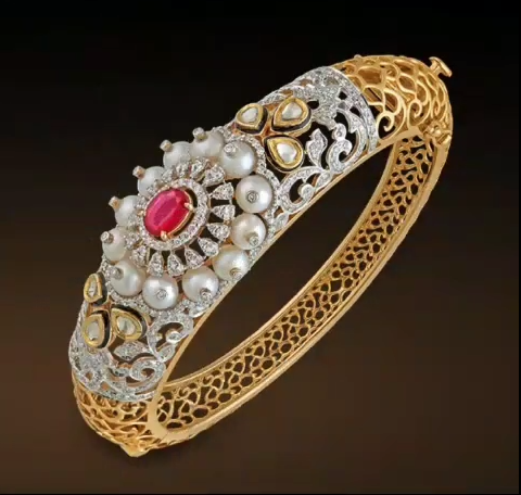 Gold Stone Bridal Bangle Designs6