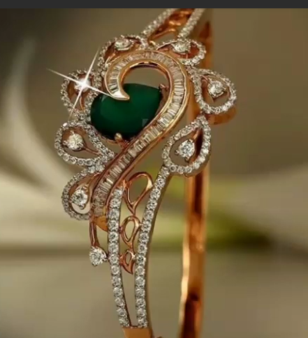 Gold Stone Bridal Bangle Designs9