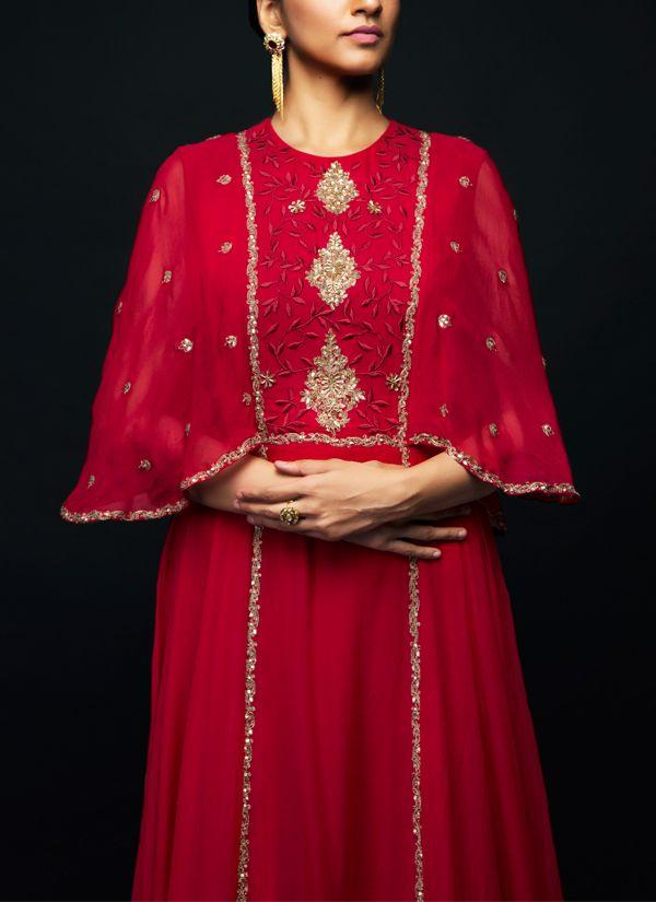 red designer kurti design