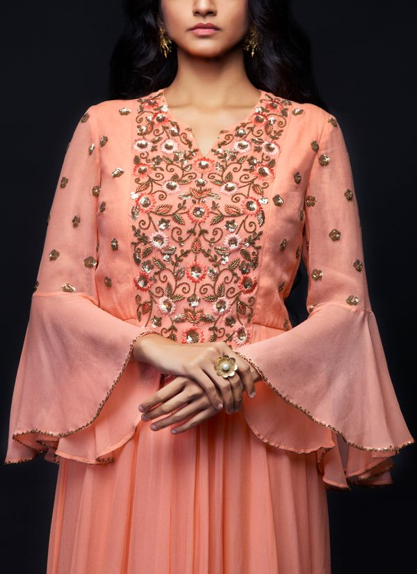 peach kurti with bell sleeve design