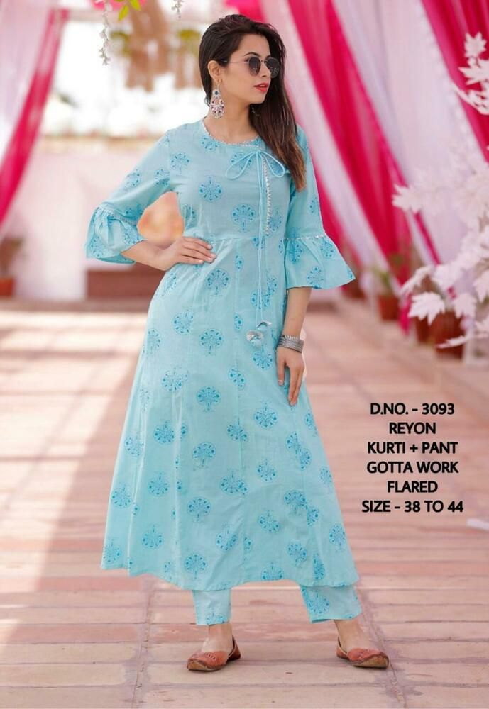 sky blue kurti with bell sleeve design