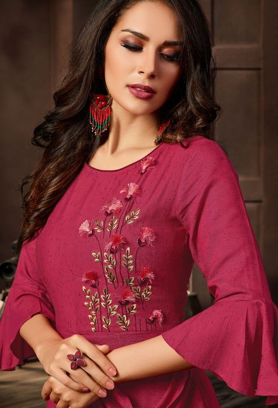 red kurti design with bell sleeve