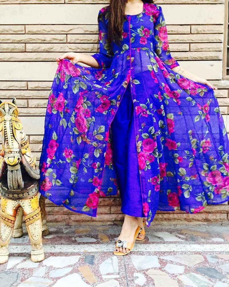 blue floral print kurti design